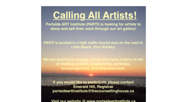 call for artists graphic with sunset in the background