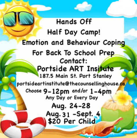 The Hands Off Half Day Camp event details graphic